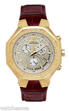 Aqua Master Chrono Gold tone Dial Diamonds Red Leather Band Men's Watch W#118_97