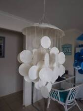 Wedding white capiz shell mobile/windchime. Beach coastal decor