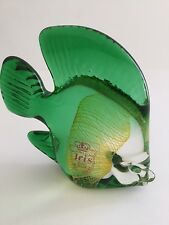 IRIS HANDMADE CZECHOSLOVAKIAN BOHEMIAN GLASS GREEN FISH ORNAMENT/PAPERWEIGHT