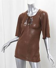 PRADA Womens Brown Knit Three-Quarter Sleeve Tunic Sweater Pullover Blouse 38/XS