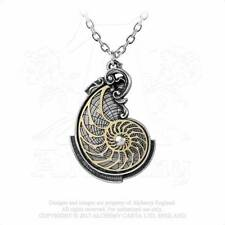 Alchemy Gothic Pewter Fibonacci's Golden Spiral Steampunk Pendant Necklace P799