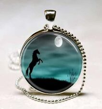 Vintage Horse Cabochon Silver plated Glass Ball Chain Pendant Necklace H#80