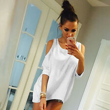 Oversized Women's Cold Shoulder Blouse T Shirt Tops 3/4 Sleeve Casual Mini Dress