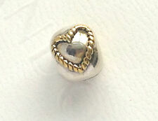 Authentic Genuine Pandora Silver & Gold Braided Heart Clip14k Gold 790599
