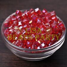25pcs 6mm Cube Square DIY Crystal Glass Loose Spacer Beads Red AB