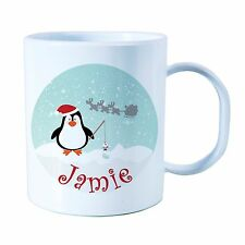 Personalised Plastic Unbreakable Kids Cup, Christmas Penguin.