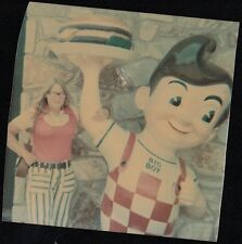 Vintage Photograph Woman Standing Next to Vintage Bob's Big Boy Statue