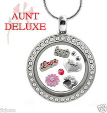 AUNT DELUXE Crystal Glass Locket Set Floating Charms & Sterling Plated Necklace