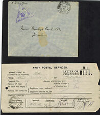 1941 England Field Post Office Censored Cover Jerusalem Palestine  Barclays Bank