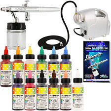 Dual-Action Airbrush CAKE DECORATING AIRBRUSHING KIT with Set of 12 Food Colors