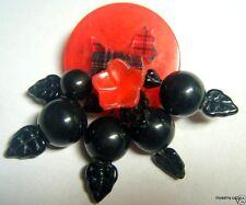 RED BAKELITE POKER CHIP Tartan Plaid LUCITE SCOTTIE Black CHERRY PIN Handmade
