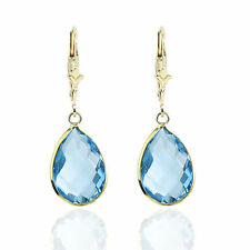 Handmade 14K Yellow Gold Gemstone Earrings With Bezeled Pear Shaped Blue Topaz