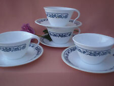 Corelle Dishes Old Town Blue Open Handle Cups & Saucers 4 Sets