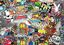 3 x A4 Sticker Bomb Sheet - JDM EURO DRIFT VW - Design 429 - (210MM x 297MM)