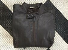 Mens DKNY brown leather jacket size XL