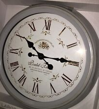 LARGE STATION Distressed Grey Metal French Station Wall Clock Shabby Chic 47cm
