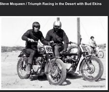 Steve McQueen/Triumph Racing In The desert with Bud Ekiins Motorcycle Poster!