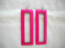 LARGE BOHO FUSCIA PINK HAND STAINED WOOD DANGLING RECTANGLE SHAPED HOOP EARRINGS