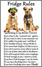"Border Terrier Dog Gift - Large Fridge Rules flexible Magnet 6"" x 4"""