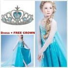 Frozen Elsa Costume Disney Princess Girls Child Fancy Outfit Long Dress+crown