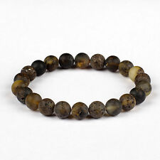 Raw Unpolished Baltic Amber Adult Stretch Bracelet with Round Green Color Beads