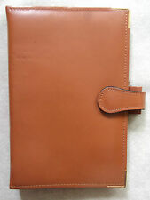 NEW PICCADILLY LEATHER TAN BROWN STANDARD PERSONAL FILE ORGANISER 25mm DIAMETER