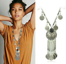 New Vintage Black Turquoise Silver Long Chain Coins Tassel Pendants Necklace Hot
