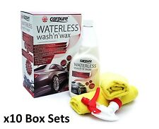 10x CarPure Waterless Wash n Wax Polish Car Cleaning Valeting Kit Microfiber Set