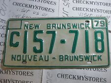 VINTAGE  NEW BRUNSWICK 1979 CAR PLATE   # C157 718 ONE (1)PLATE