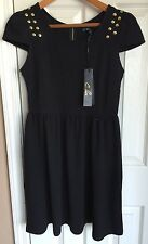 C. Luce Black Gold Studded Cap Sleeve Dress Women's Size S NWT
