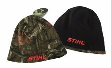 New! STIHL Reversible Mossy Oak Camo and Black Beanie Hat Cap