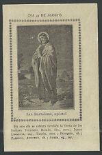Estampa antigua de San Bartolome andachtsbild santino holy card santini