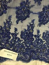 Royal Blue Flowers Embroider And Heavy Beading On A mesh Lace Fabric - Yard