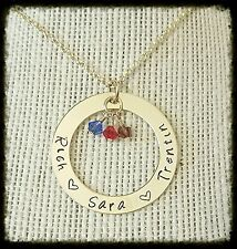 Hand Stamped Mothers Name Necklace ~ 14k Gold Filled Washer w/ Birthstone Charms