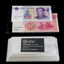 400pcs Currency Sleeves Holders Money Clear Bags For Banknotes Paper Money Stamp
