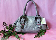 Charm and Luck Croco-embossed Walls w/ Hammered hardware Satchel Tote Bag NWT