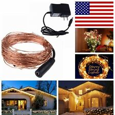 USA DC power+10M 33Ft 100 Leds Starry copper Wire Warm White string Lights