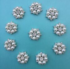 Pearl and Crystal / Diamante Embellishments, Pack Of 10 - NEW STOCK ARRIVED!