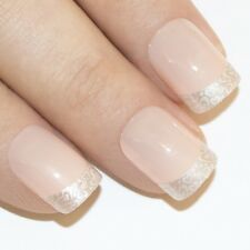 Bling Art False Nails French Manicure White Hearts 24 Full Cover Medium Tips UK