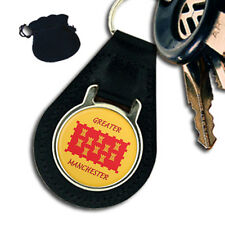 GREATER MANCHESTER COUNTY FLAG LEATHER KEYRING / KEYFOB