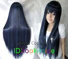 Hatsune Miku Dark Blue Mix Long Straight Anime party Cosplay Full Wig NO:L79