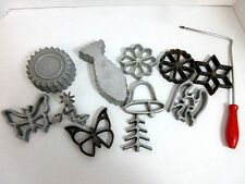 Vintage Cast Iron Patty Molds Forms Cookie Cutters Pastry Cooking 12 Pc Set