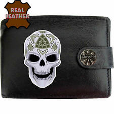 Celtic Skull Wallet Death Black Leather Wallet Printed image Celt Pagan gift