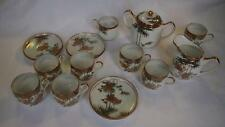 Japanese Satsuma Porcelain Tea Set - 13 Pieces - Marked Underside - VERY THIN