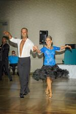Blue/Black Rhthym/Latin competition dress with feathers