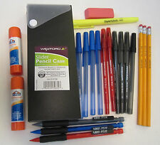 Black Pencil Box with Pens, Pencils, Highlighter, Glue Sticks - NEW