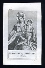 santino incisione 1800 MADONNA DELL'ASSISTENZA in PARMA
