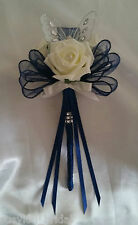 Wedding Flowers Bridesmaid Butterfly Wands Ivory Roses Bows Navy Ribbon Diamante
