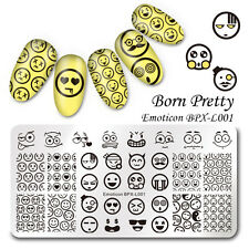 Nagel Schablonen Nail Art Stempel Plate BORN PRETTY Emoticon BPX-L001 DIY Design
