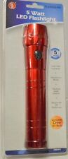 5 Watt LED flashlight 135-160 Lumens, Red Alum body, Side switch, 2D batteries n